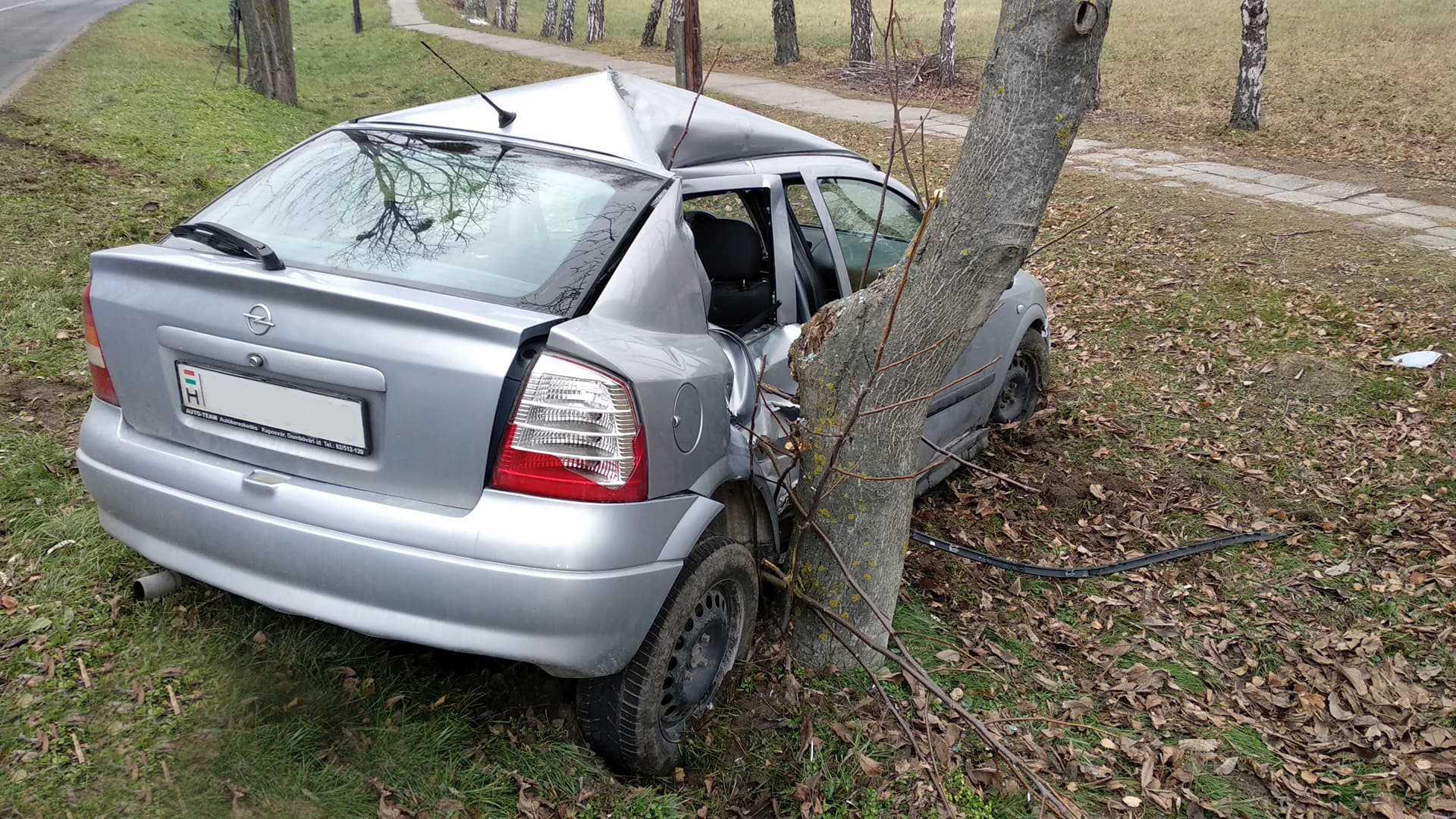 Megcsúszott, fának csapódott